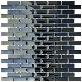 SomerTile 12x12-in Obsidian Subway 5/8x1-7/8-in Mirror Glass Mosaic Tile (Pack of 10)