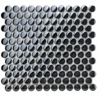 SomerTile 12x12-in Obsidian Penny 7/8-in Mirror Glass Mosaic Tile (Pack of 10)