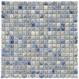 SomerTile 12x12-in Samoan 9/16-in Neptune Blue Porcelain Mosaic Tile (Pack of 10)