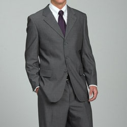 Men's 3-button Solid Medium Grey Suit