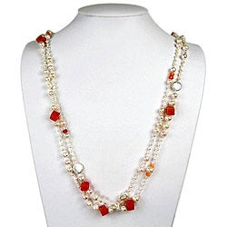 Pearl, Crystal, Red Agate and Aventurine Necklace (9 mm)