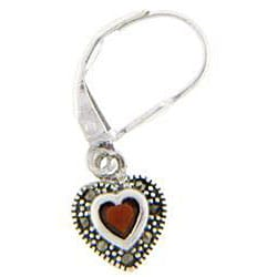 Dolce Giavonna Sterling Silver Red Cubic Zirconia and Marcasite Heart Earrings