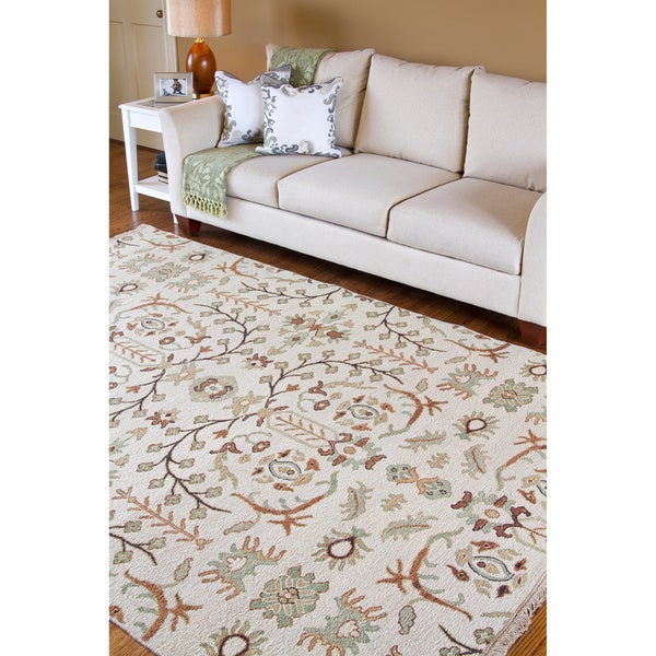 Hand-knotted Legacy Beige New Zealand Wool Rug (10' x 14')