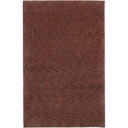 Julie Cohn Hand-knotted Red Royal Abstract Design Wool Rug (9' x 13')