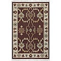 Hand-woven Burgundy Southwestern Aztec New Zealand Wool Rug (9' x 13')