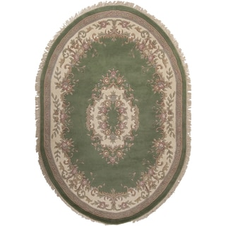 Hand-knotted Aubusson New Zealand Wool Rug (7'6 x 9'6 Oval)