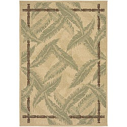 Beige Cafe Botanical Indoor/Outdoor Rug (5'3 x 7'6)