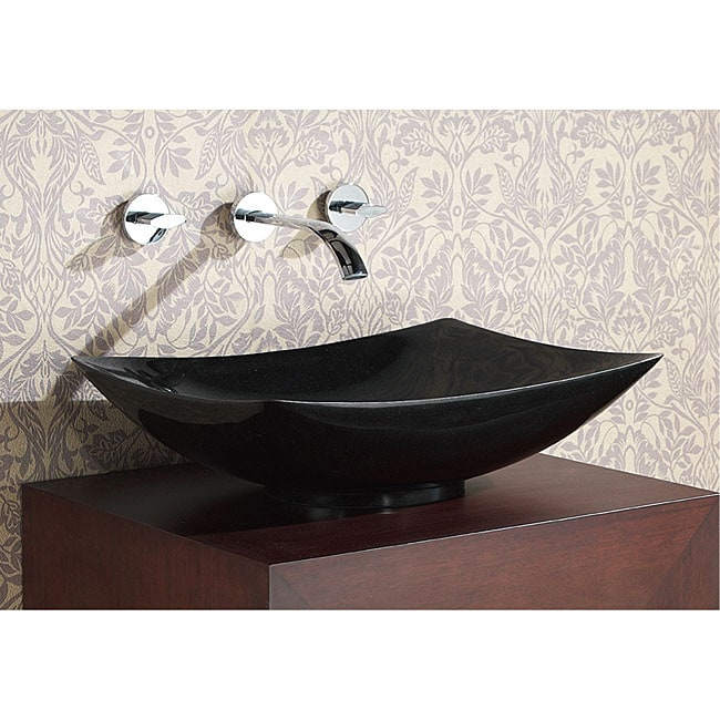 Avanity Rectangular Black Granite Stone Vessel Sink - 12380134 ...