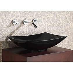 Rectangular Black Granite Stone Vessel Sink