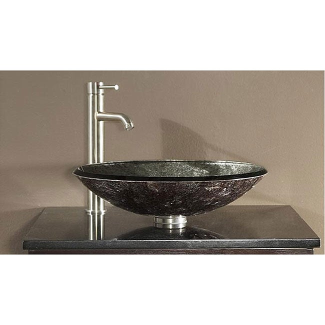 Avanity Tempered Glass Metallic Silver Sink Vessel - 12380286 ...