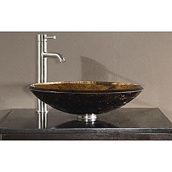 Avanity Tempered Glass Metallic Copper Sink Vessel