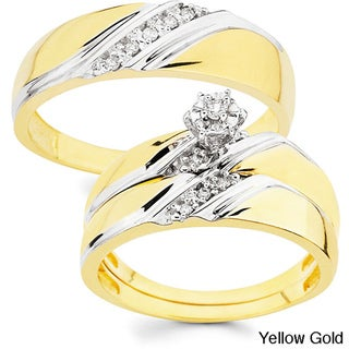 10k Gold 1/10ct TDW His and Her Wedding Ring Set (H-I, I1)