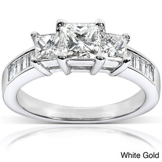 Annello 14k Gold 1 1/2ct TDW Princess Diamond Engagement Ring (H-I, I1-I2)