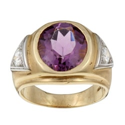 14k Gold Amethyst and 1 1/10ct TDW Diamond Estate Ring (J, SI2) (Size 9.5)