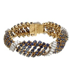 18k Gold Sapphire and 4 1/10ct TDW Diamond French Estate Bracelet (G, VS2)