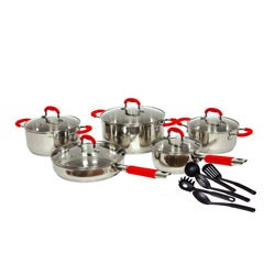 Gourmet Chef 15-piece Stainless Steel Cookware Set Black or Red