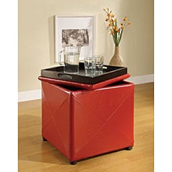 Red Synthetic Leather Storage Cube with Wood Serving Tray