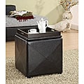 Chocolate Faux Leather Storage Cube with Wood Serving Tray