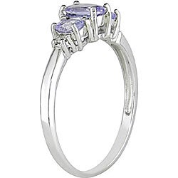 Miadora 10k White Gold Tanzanite and Diamond Ring