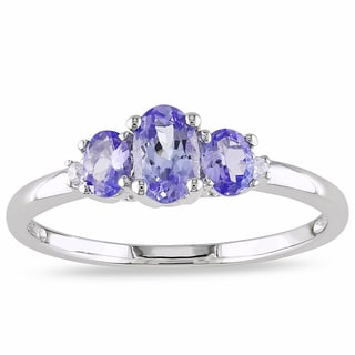 Miadora 10k White Gold Tanzanite and Prong-set Diamond Ring