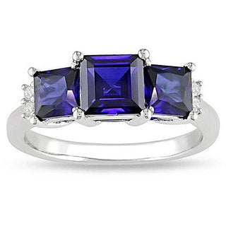 Miadora 10k White Gold Princess-cut Created Sapphire and Diamond Ring