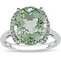 Miadora 10k Gold Green Amethyst and Diamond Ring