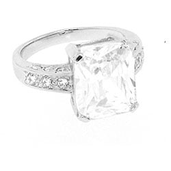 Sterling Silver Clear Cubic Zirconia Engagement-style Ring