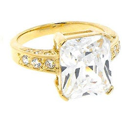 Goldplated Sterling Silver Cubic Zirconia Engagement-style Ring