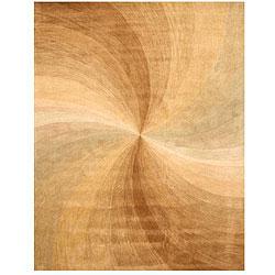 Hand-tufted Wool Beige Swirl Rug (7'9 x 9'9)