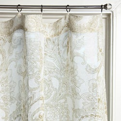 Printed Linen 84-inch Beige Curtain Panel (India)