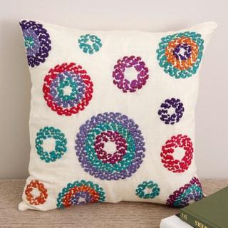 Hand-stitched 'Circles' 16x16 Cream Silk Decorative Pillow Cover (India)