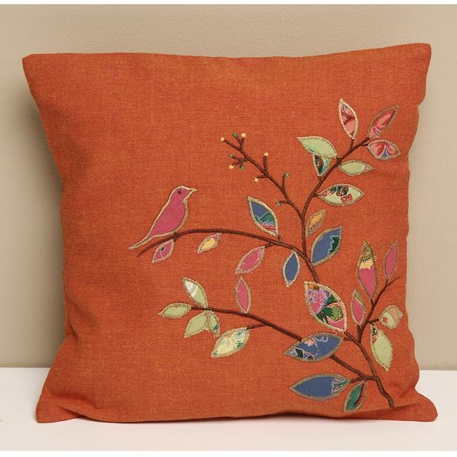 Tangerine Cotton 'Amelia Birds' Decorative Pillow Cover (India)