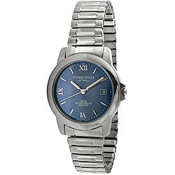 Timetech Men's Blue Dial Stainless Steel Expansion Watch