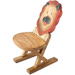Handmade Acacia Wood Kids' Lion Design Chair (Thailand)