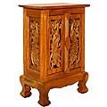 Acacia Wood Handmade Peacock Design Nightstand/ Cabinet (Thailand)