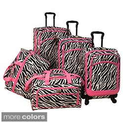 American Flyer Pink Zebra Print 5-piece Spinner Luggage Set