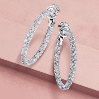 Miadora Signature Collection 18k Gold 3 3/4ct TDW Diamond Hoop Earrings (H-I, SI)