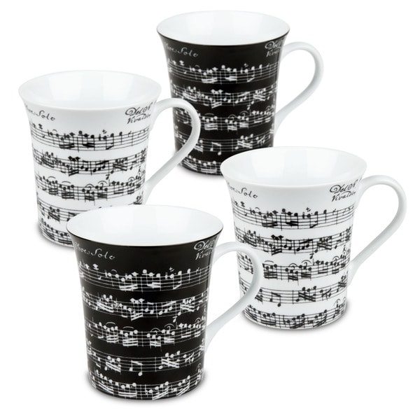 Konitz 'Vivaldi Libretto' 12-oz Black/ White Mugs (Set of 4)