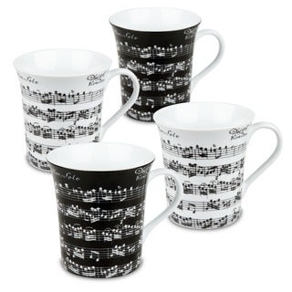 Konitz 'Vivaldi Libretto' 12-oz Black/ White Mugs (Set of 4)