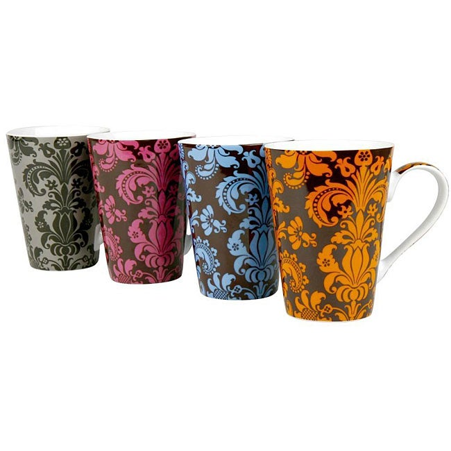 Konitz 'Rocaille' 13-oz Assorted Color Mugs (Set of 4)