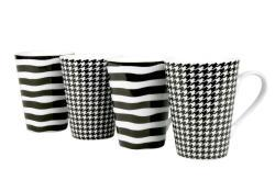 Konitz 'Escapda' Black/ White Assorted 13-oz Mugs (Set of 4)
