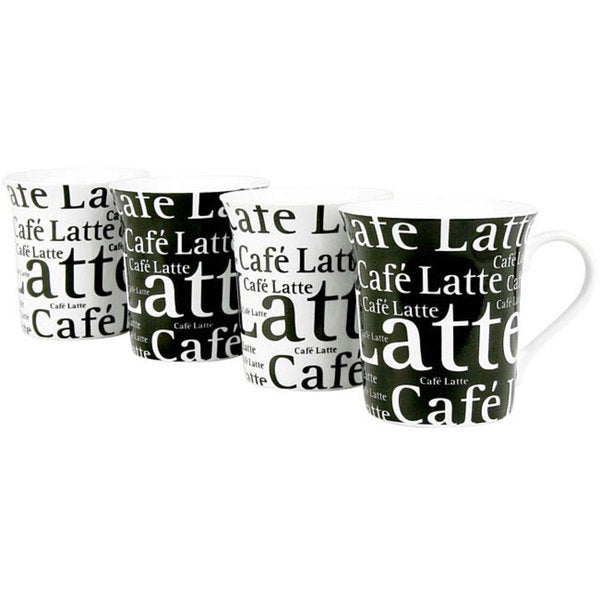 Konitz 'Cafe Latte Writing' Black/ White 12-ounce Cups (Set of 4) 6034338
