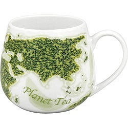 Konitz 'Planet Tea Snuggle' White/ Green 14-oz Mugs (Set of 2)