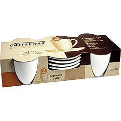 Konitz Coffee Bar 'Espresso Doppio' 3-oz White Cups/ Saucers (Set of 4)