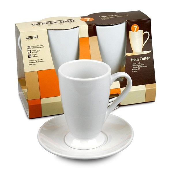 Konitz Coffee Bar 10-oz Irish Coffee Cups/ Saucers (Set of 2)