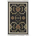 Hand-woven Black Southwestern Aztec New Zealand Wool Rug (9' x 13')