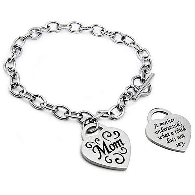 Oliveti Stainless Steel Engraved 'Mom' Heart Charm Bracelet