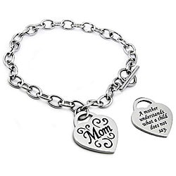 Oliveti Stainless Steel Engraved 'Mom' Heart Charm Bracelet