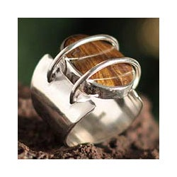 Sterling Silver 'Web Of Mystery' Tiger's Eye Cocktail Ring (Peru)