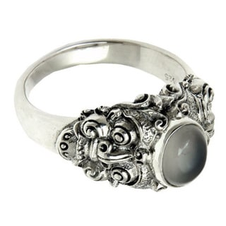Silver 'Goodness' Men's Moonstone Solitaire Ring (Indonesia)